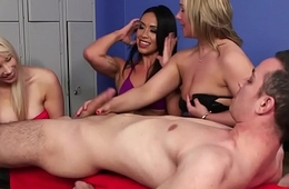 CFNM milfs wanking cock at the locker room