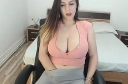 Huge bosom gorgeous carrying-on pussy in tight pants and chat