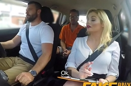Fake Driving School Big sticky facial finish of hot busty posh examiner