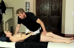 Busty milf groped and fucked by masseur