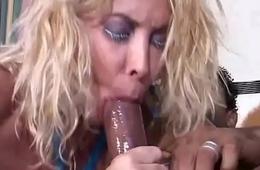 Black cock screws a blonde slut