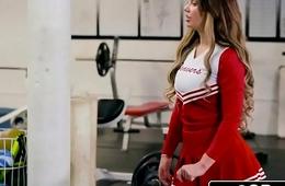 Cheerleader Brooke Beretta Needs a Trestle To Fuck Her