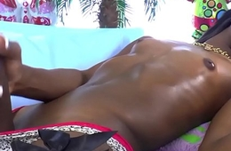 Black tranny masturbating and spilling cum
