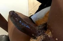 Ebony Slut Deepthroat Hold up to ridicule on Cock