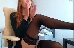 Gorgeous redhead masturbating