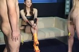 Japanese Femdom Risa Bondage CFNM and Handjobs