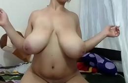 Amazing tremendous tits  woman on webcam
