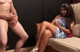 Fully clothed coddle giving a nice handjob