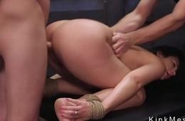 Busty brunette slave gets fuck training