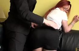 Redhead UK sub encircling big tits riding dick