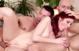 Aggravation banged jocks spitroasting a redhead babe