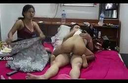 Threesome, a boss increased by her sexy 2 secretaries
