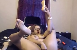 Inked threatening MILF with glasses and enormous pierced special