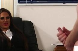 Seductive UK voyeur humiliates tugging alms-man