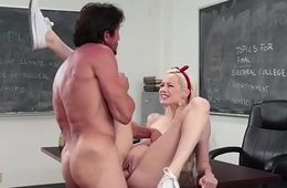 Gorgeous schoolgirl swallows a load of cum