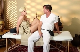 Stunning babe doggystyled by masseur