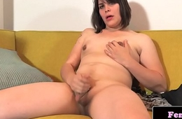 Femboy beauty tugs on her big hard cock