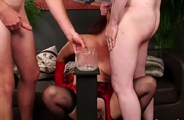Wicked indulge gets cock juice load on her face sucking all the cum