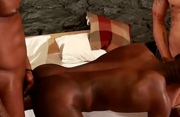 Spitroasted black hunk gets fucked deeply