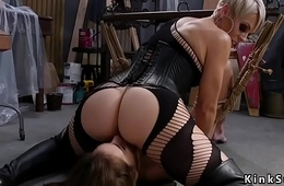 Blonde mistress spanked brunette sub