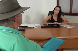 Caught Grandpa Having Sex With Young Brunette at venture interview