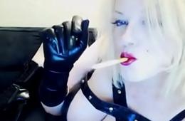 slutty blonde in leather smoking