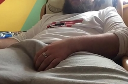 Big Impoverish In Sweat Pants Strokes His Thick Cock