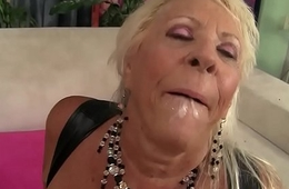 Floppy Titted Grandma Mandi McGraw Fucks a Bald Defy Until He Pops in Her Mouth