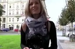 Cutie amateur european slut suck dick in public for euros 09