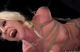 Hogtied blonde spanked and fingered