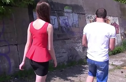 Young student filled with cum outdoors