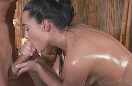 Classy massage beauty plowed by her masseur