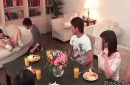Ayaka Haruyama unreasoned Japan group sex along friends