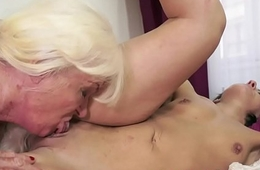Fat granny pleasuring a lovely babe